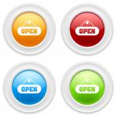 Buttons with open icon — Stock Vector