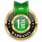 Gold one year warranty badge — Stock Vector