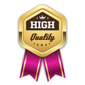 Gold high quality badge — Stock Vector