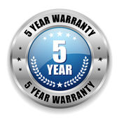 Blue five year warranty button — Stock Vector