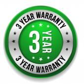 Three year warranty button — Stock Vector