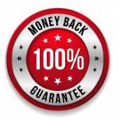 Silver money back badge — Stock Vector