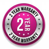 Two year warranty button — Stock Vector