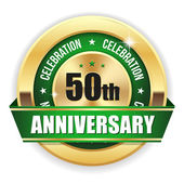 Green  50th anniversary badge — Stock Vector