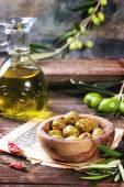 Azeitonas e azeite — Foto Stock