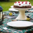 Table setting with chocolate cake — Stock Photo #56730621