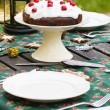 Table setting with chocolate cake — Stock Photo #57985957