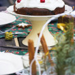 Table setting with chocolate cake — Stock Photo #57985979