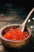 Bowl of red caviar — Stock Photo
