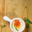 Baked egg with red caviar — Stock Photo #59023313
