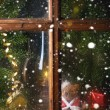Christmas decoration with teddy bear in window — Stockfoto #59024855