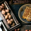 Honeycomb and nuts — Stock Photo #59534031