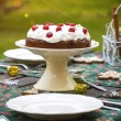Table setting with chocolate cake — Stock Photo #59534079