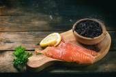 Salted salmon and black caviar — Stok fotoğraf
