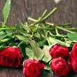 Valentines day's arrangements with red roses and heart over gray background — Stock Video #60470121