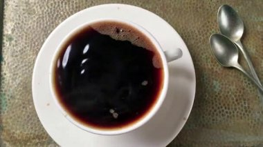 Cup of coffee slow motion — Stock Video