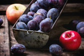 Plums and apples — Stock Photo