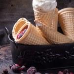 Ice cream in wafer cones — Stock Photo #69806761
