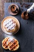 Belgian waffles and coffee — Stock Photo