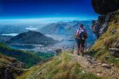 Wandelen in de alpen — Stockfoto