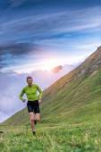 Running in mountain — Stock Photo