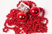 Červené koule Vánoční dekorace — Stock fotografie