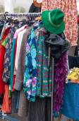 Clothes in a street market — Stock Photo
