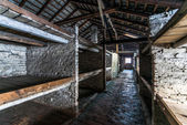 Inside of a barracks of the Nazi concentration camp Auschwitz Bi — Stockfoto
