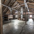 Inside of a barracks of the Nazi concentration camp Auschwitz Bi — Stock Photo #64401267