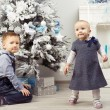 Two children (brother and sister) near christmas tree — Stock Photo #54009877