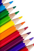 Row of colorful pencils isolated over white background — Stock Photo
