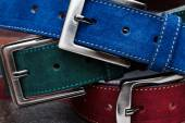 Close-up view of three suede belts — Stock Photo