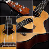 Ukulele guitar over dark background collage — Stockfoto