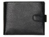 孤立在白色背景上的黑色天然皮革钱包 — 图库照片