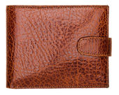 Terracotta natural leather wallet isolated on white background — Stock Photo