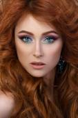 Close-up portrait of elegant woman with beautiful red hair — Stock Photo