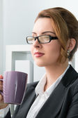 Portrait of young beautiful business woman — Stock Photo