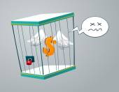 Flying dollar trapped in a cage — Stok Vektör
