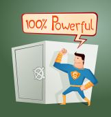 Superhero guarding a deposit box — Stock Vector