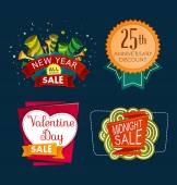 Various sale event tittle — Stock Vector