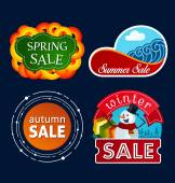 Various seasonal sale event tittle — Stock Vector