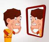Boy with an acne problem — Stock Vector