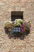 Flowered balcony and rampart — Stock Photo