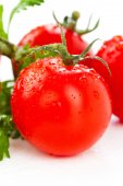Juicy organic Cherry tomatoes with green leaf isolated over whit — Stock Photo