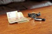 Men watch with a black leather wristband, ukraine money, car tri — Stock Photo