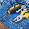 Strong pliers, screw, and screwdrivers in his pocket jeans — Stock Photo #70670523