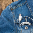 White USB cable in jeans pocket, USB cord with the jeans pocket  — Стоковое фото #70670817