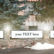 Vertical blank billboard, sign on stone fence with lantern on th — Stock Photo #70672999
