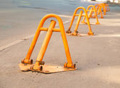 Manual yellow road block, disabling access to the restricted are — Stock Photo