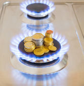 Blue flames of natural gas burning from a gas stove with euro coins — Stockfoto